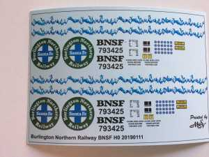 Burlington Northern Railway BNSF Decals 1:87 oder H0